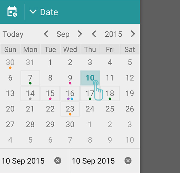 How to filter entries using calendar? – Diaro - diary, journal ...
